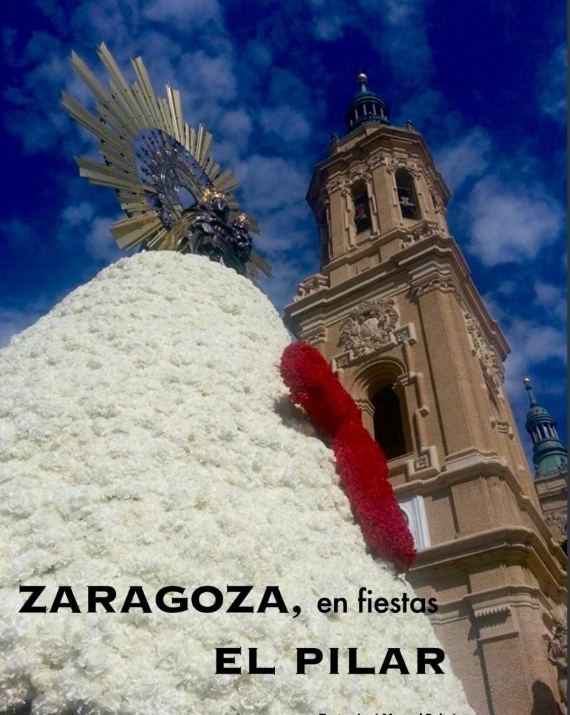 Una Zaragoza en fiestas confecciona un espectacular manto para la Virgen del Pilar.