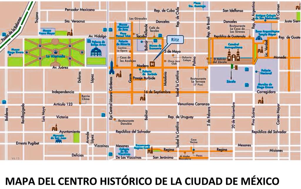 Plano del Centro Histórico de la Ciudad de México.